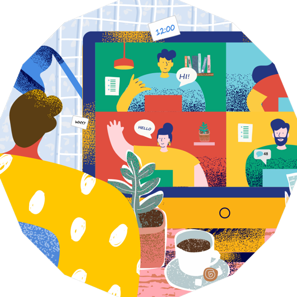 A colourful illustration of people on a video call