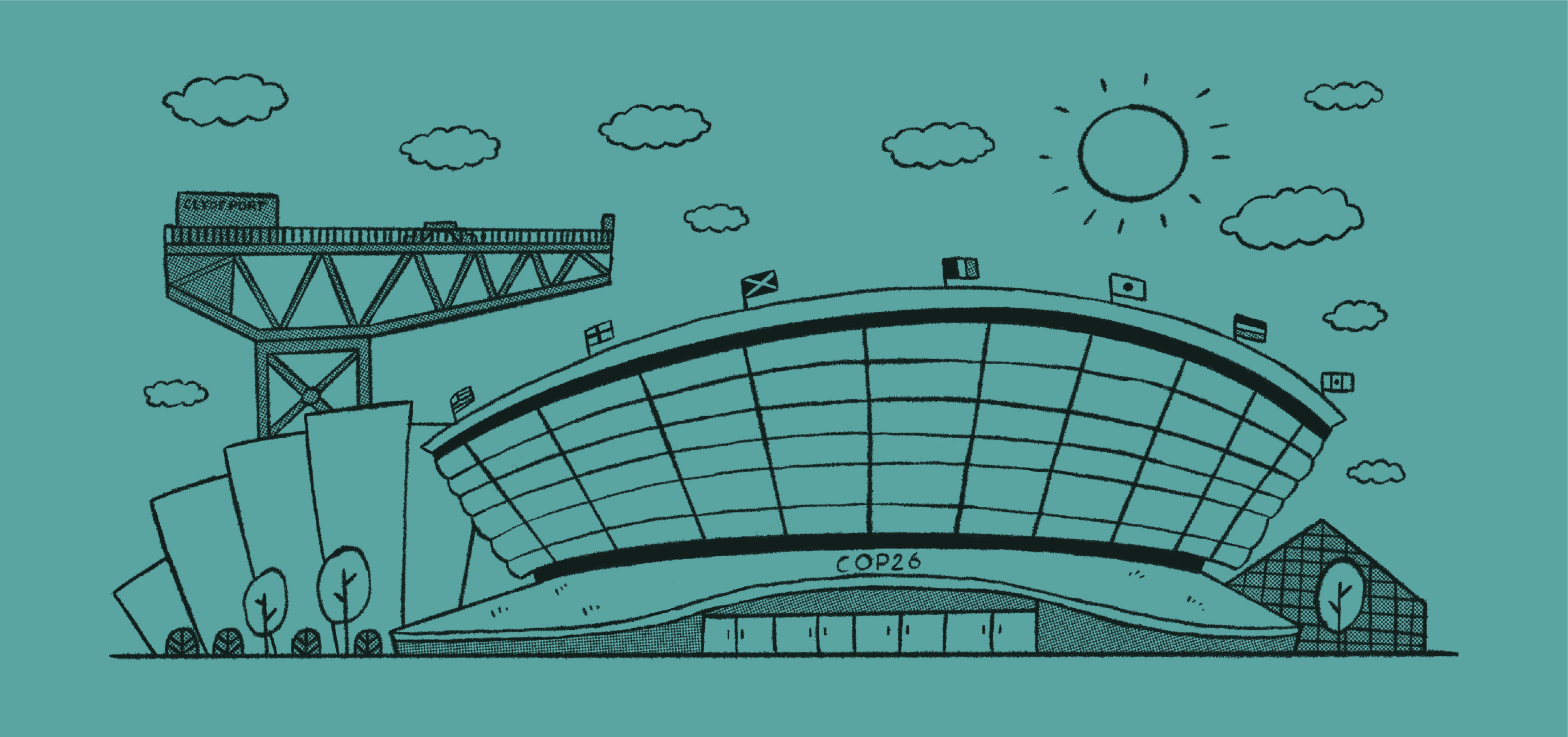 A turquoise illustration of the Scottish Exhibition Centre in Glasgow.